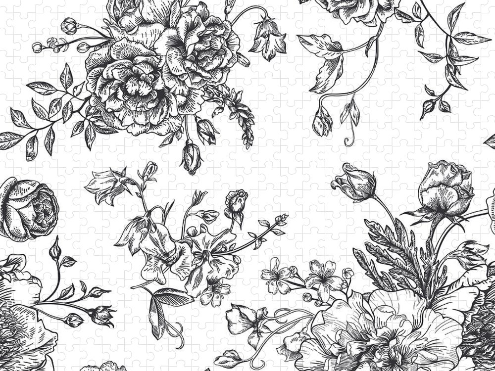 Art Puzzle featuring the digital art Seamless Pattern With Bouquet Of by Nata slavetskaya