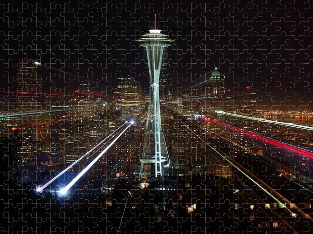 Laser Puzzle featuring the photograph Seattle Skyline Laser Show by Jonkman Photography