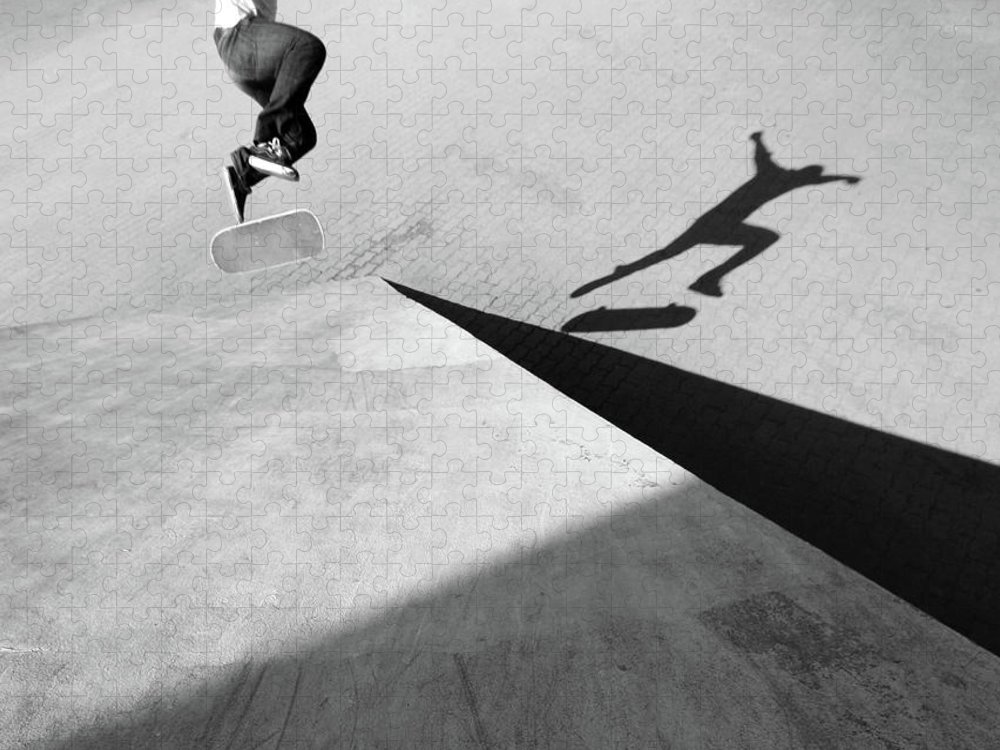 Shadow Puzzle featuring the photograph Shadow Of Skateboarder by Mgs