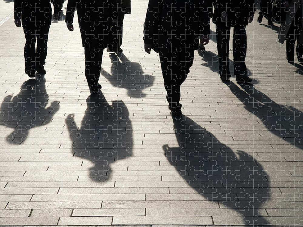 Shadow Puzzle featuring the photograph Shadow Team Of Commuters Walking On by Peskymonkey