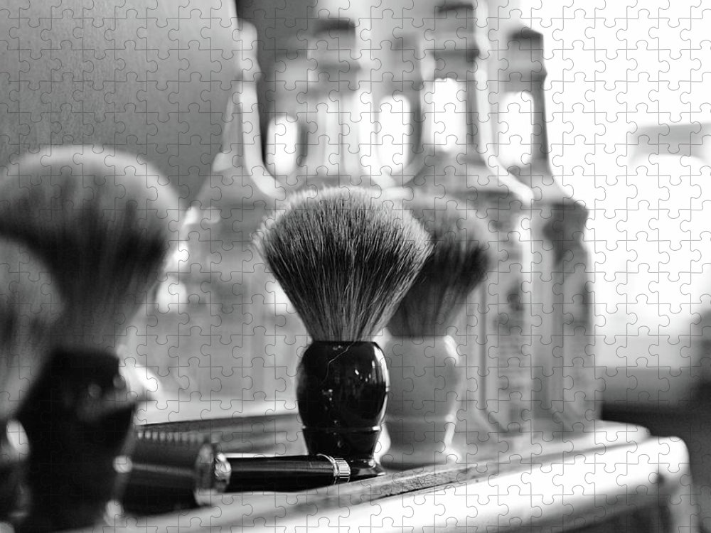 Office Puzzle featuring the photograph Shaving Brushes At Barbershop by Lorado