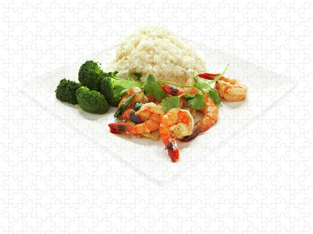 Broccoli Puzzle featuring the photograph Shrimp Stir Fry On Plate On White by Thomas Northcut