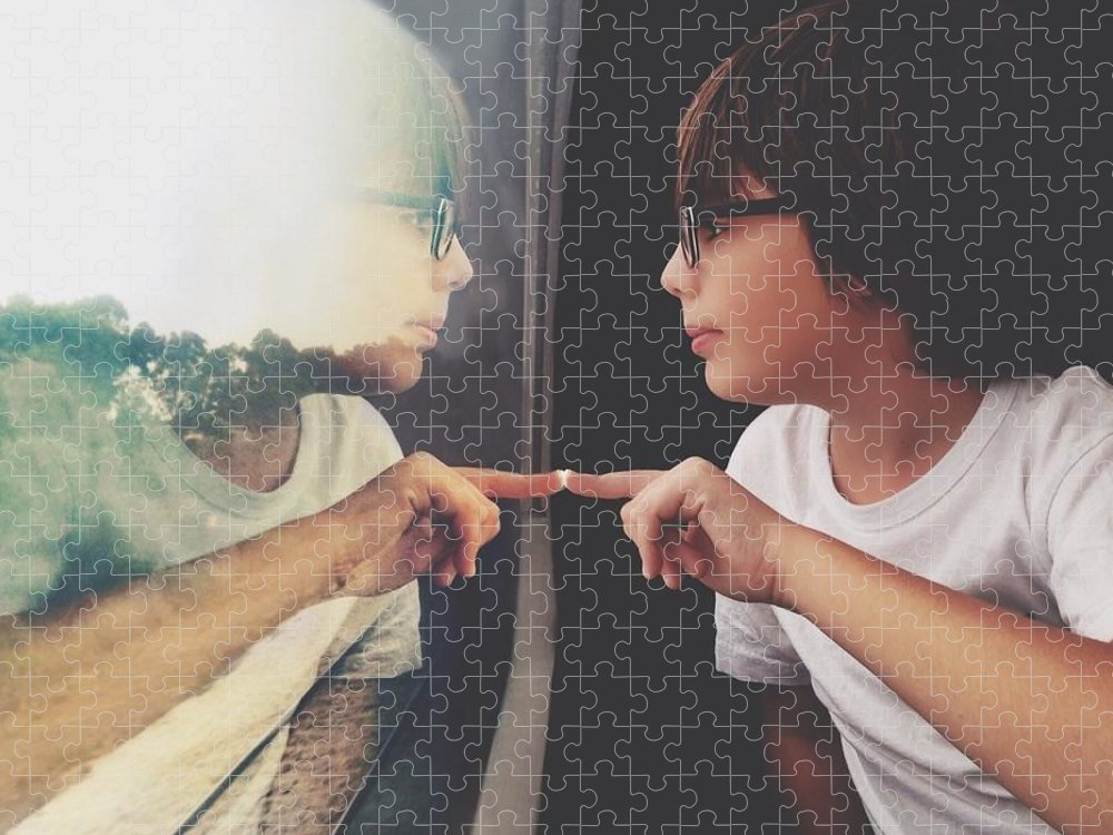 Child Puzzle featuring the photograph Side View Of Cute Boy With Reflection by Dina Alfasi / Eyeem