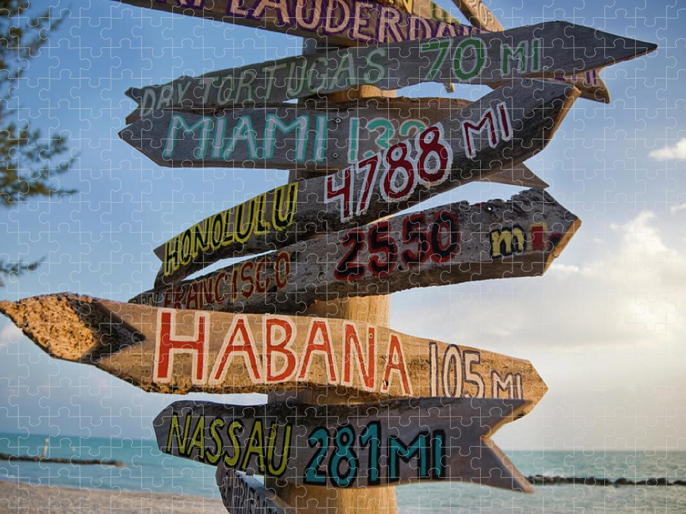 Southern Usa Puzzle featuring the photograph Sign In Key West by Cristianl