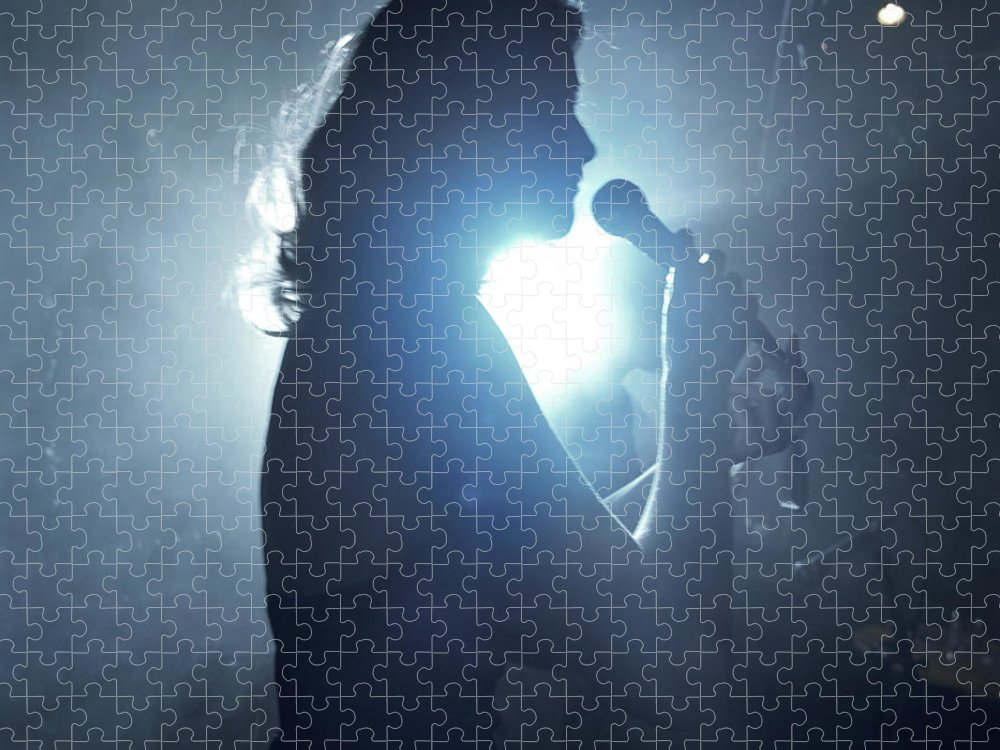 25-29 Years Puzzle featuring the photograph Silhouette Of Woman Using Microphone by Frank Herholdt