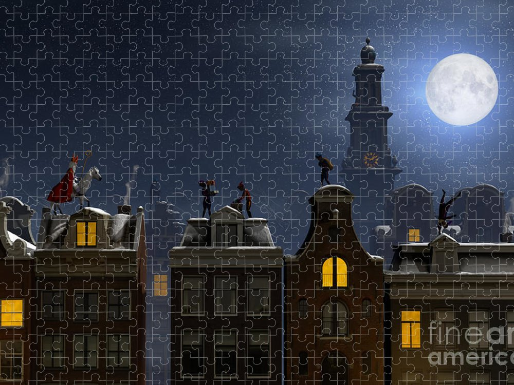 Trees Puzzle featuring the digital art Sinterklaas And The Pieten by Sara Winter