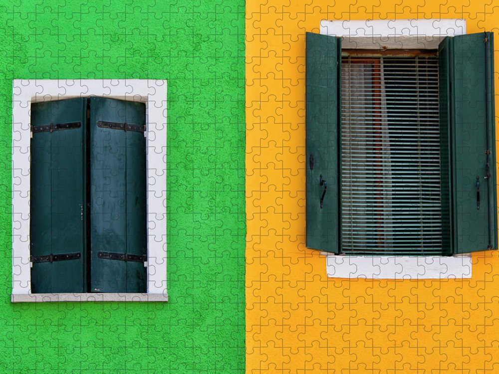 Tranquility Puzzle featuring the photograph Sisters Windows, Burano, Italy by Stefan Cioata