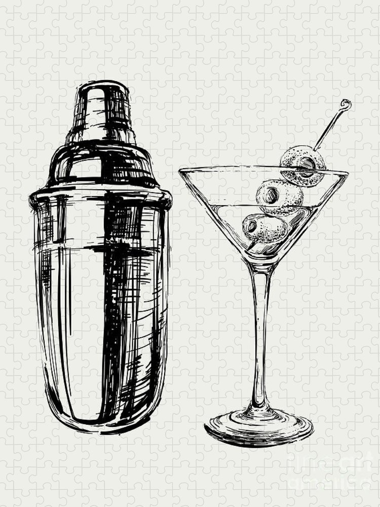 Symbol Puzzle featuring the digital art Sketch Martini Cocktails With Olives by Mazura1989