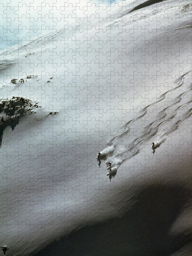 Shadow Puzzle featuring the photograph Skier Moving Down In Snow On Slope by John P Kelly