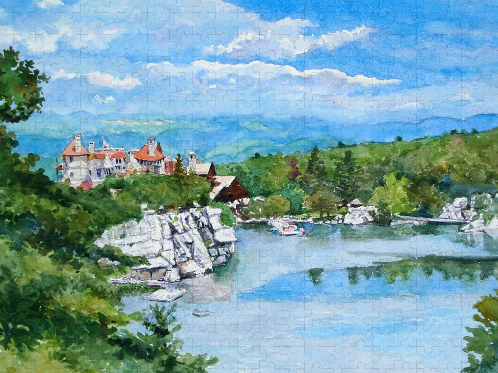 Mohonk Mountain House Puzzle featuring the painting Sky Lake, Mohonk by Mira Fink