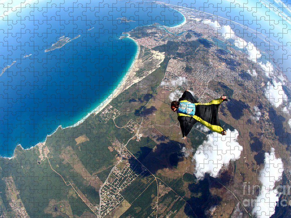 Altitude Puzzle featuring the photograph Skydive Wing Suit Over Brazilian Beach by Rick Neves
