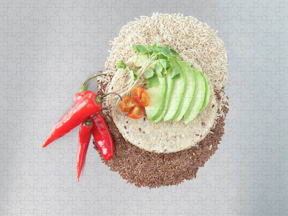 Flax Seed Puzzle featuring the photograph Sliced Avocado And Peppers With Grains by Laurie Castelli
