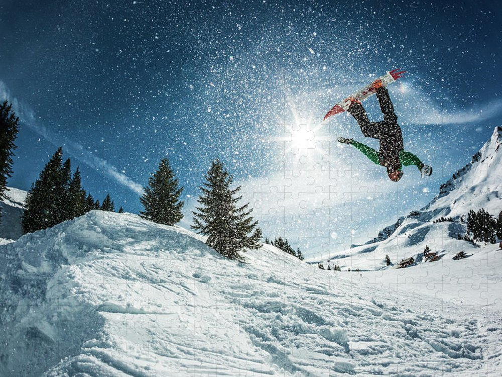 People Puzzle featuring the photograph Snowboarder Doing A Backflip With Snow by © Francois Marclay