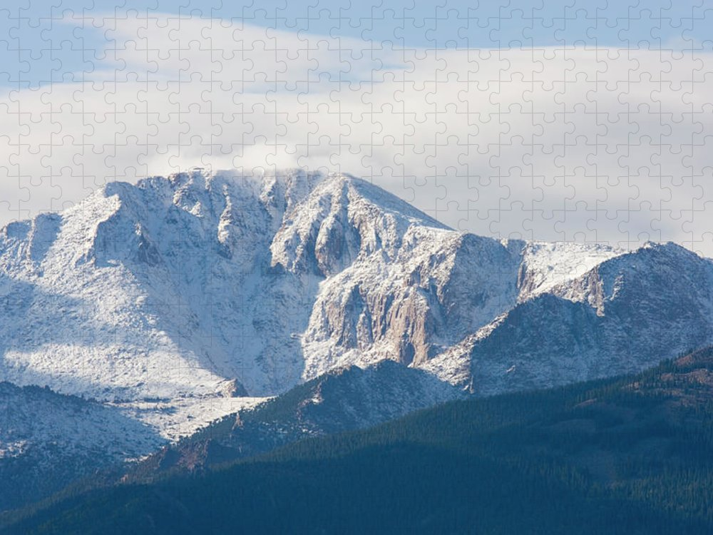 Extreme Terrain Puzzle featuring the photograph Snowy Pikes Peak by Swkrullimaging