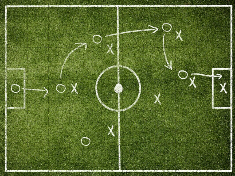 Rectangle Puzzle featuring the photograph Soccer Strategy by Goldmund