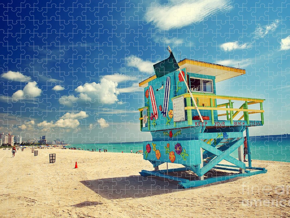 Usa Puzzle featuring the photograph South Beach In Miami Florida by S.borisov