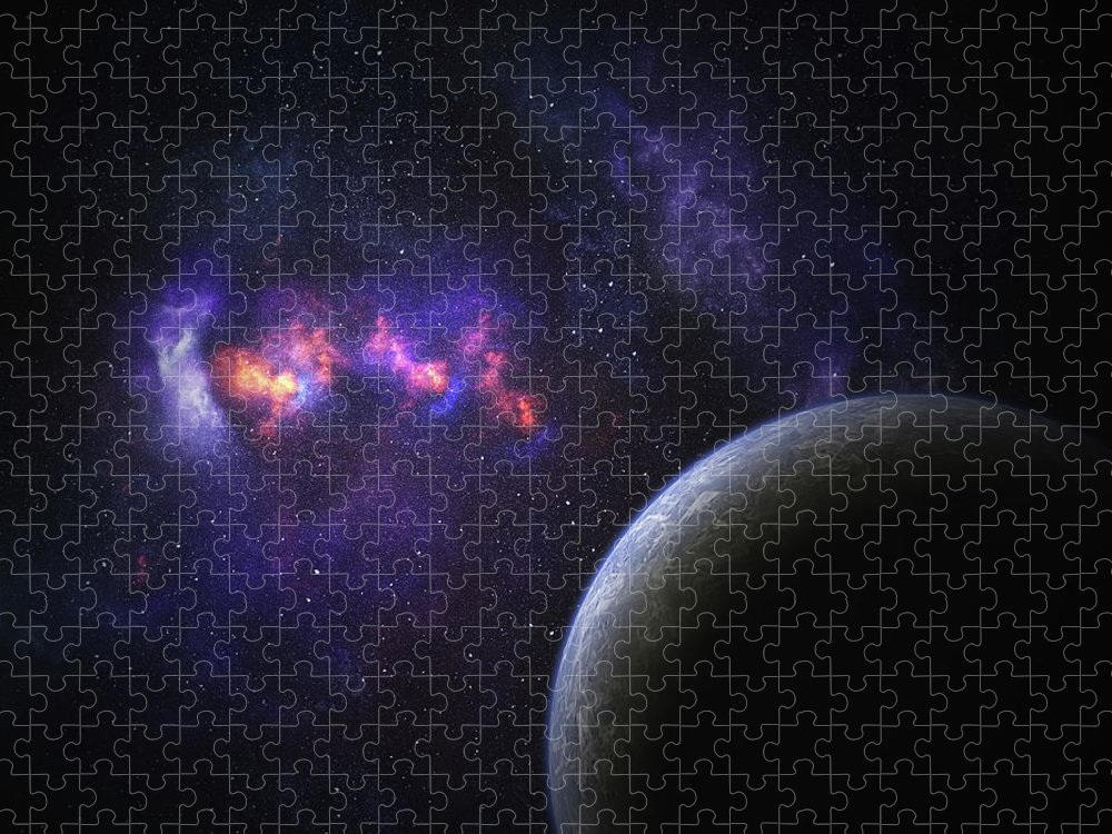 Orange Color Puzzle featuring the photograph Space Planet by Sololos