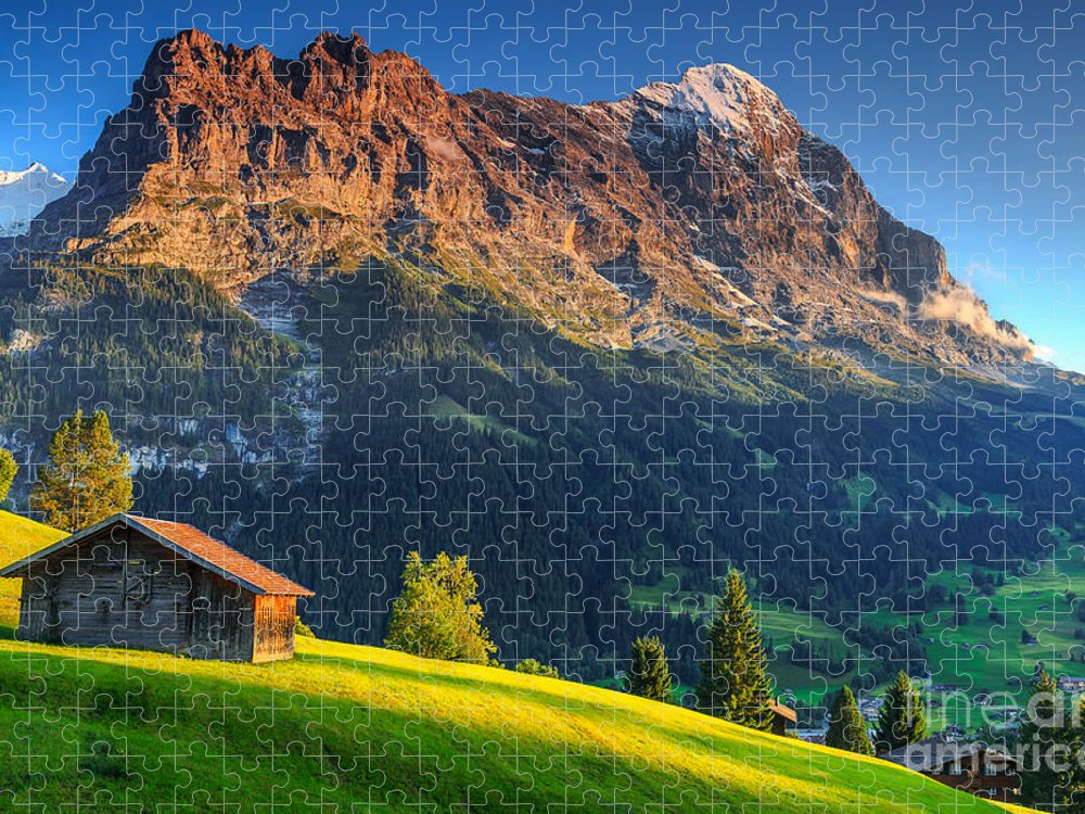 Hut Puzzle featuring the photograph Spectacular Swiss Alpine Landscape by Gaspar Janos