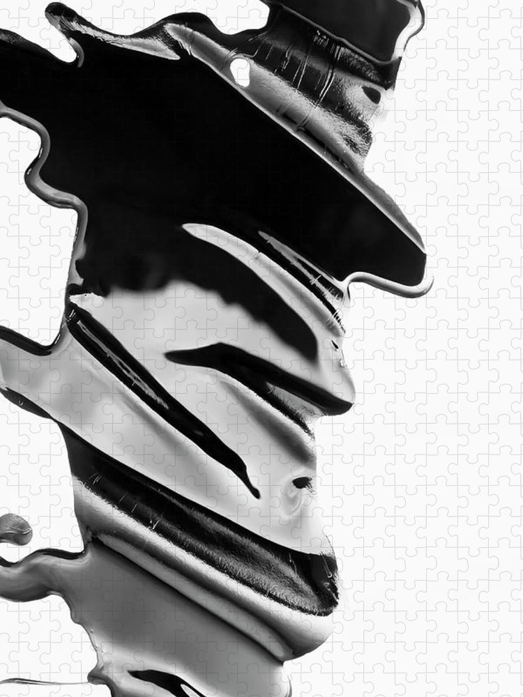 Problems Puzzle featuring the photograph Spilled Black Paint Making An Abstract by Fstop Images - Ralf Hiemisch