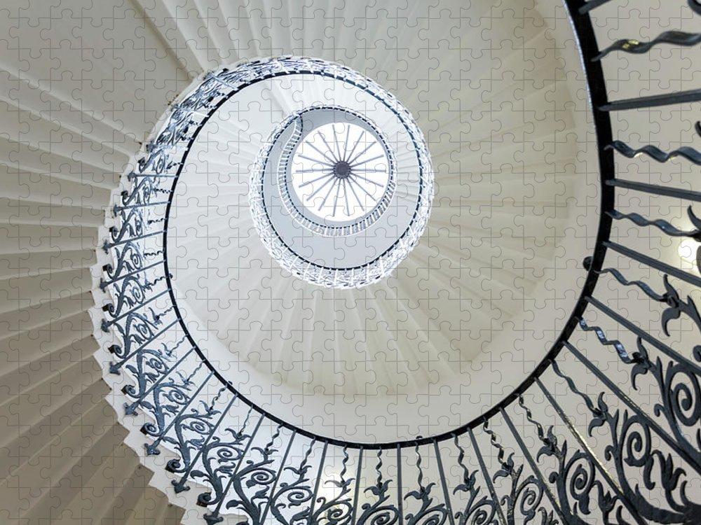 Queen's House Puzzle featuring the photograph Spiral Staircase, The Queens House by Peter Adams