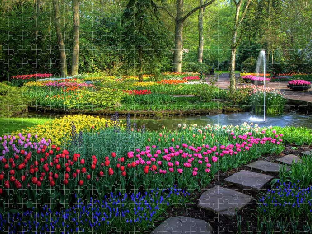Netherlands Puzzle featuring the photograph Springtime Keukenhof Gardens With by Darrell Gulin