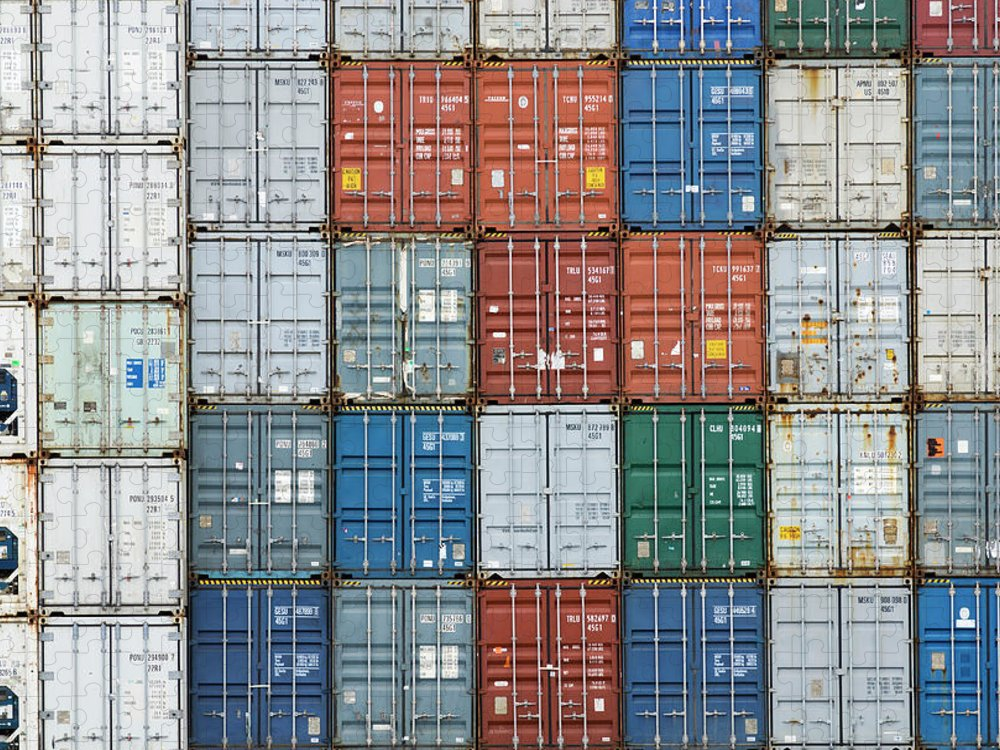 Trading Puzzle featuring the photograph Stack Of Cargo Containers Full Frame by Andy Andrews