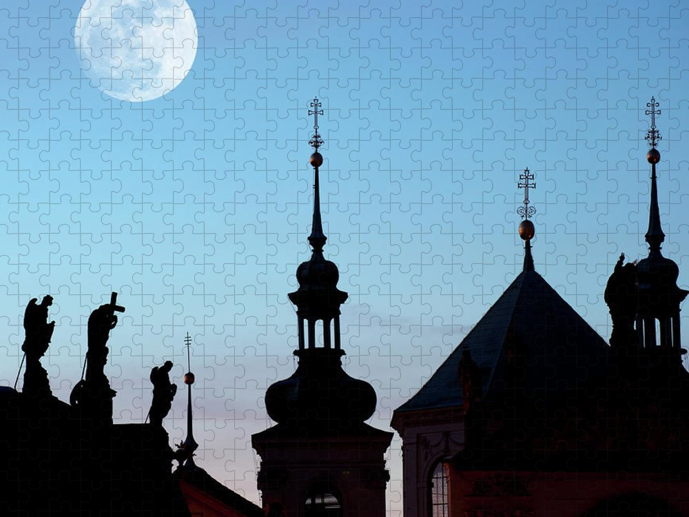 Statue Puzzle featuring the photograph Statues And Spires In Silhouette, Prague by Shanna Baker