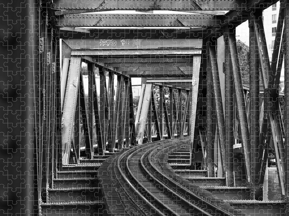 Railroad Track Puzzle featuring the photograph Steel Girder Railway Bridge by Peterjseager