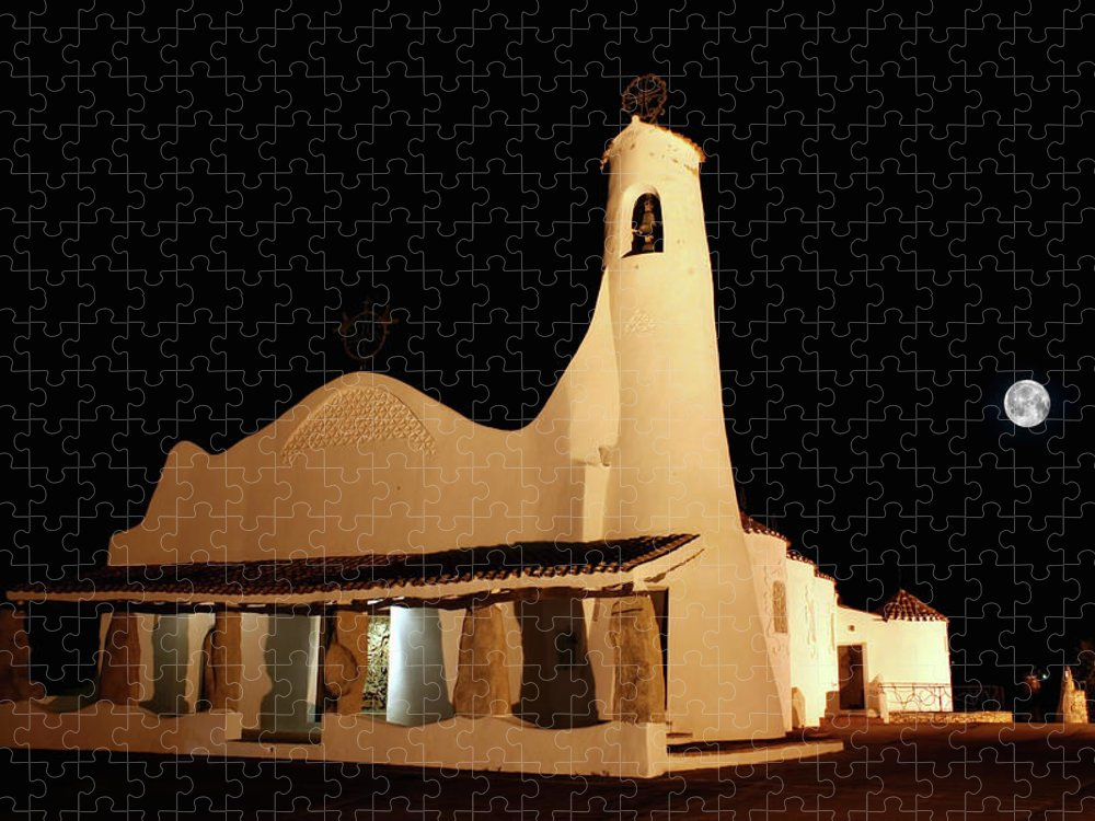 Art And Craft Product Puzzle featuring the photograph Stella Maris Church In Porto Cervo With by Photovideostock