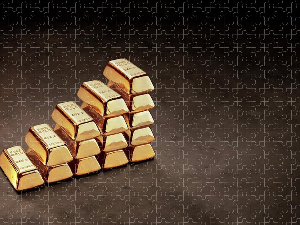 In A Row Puzzle featuring the photograph Stepped Stack Of Gold On Dark Surface by Anthony Bradshaw