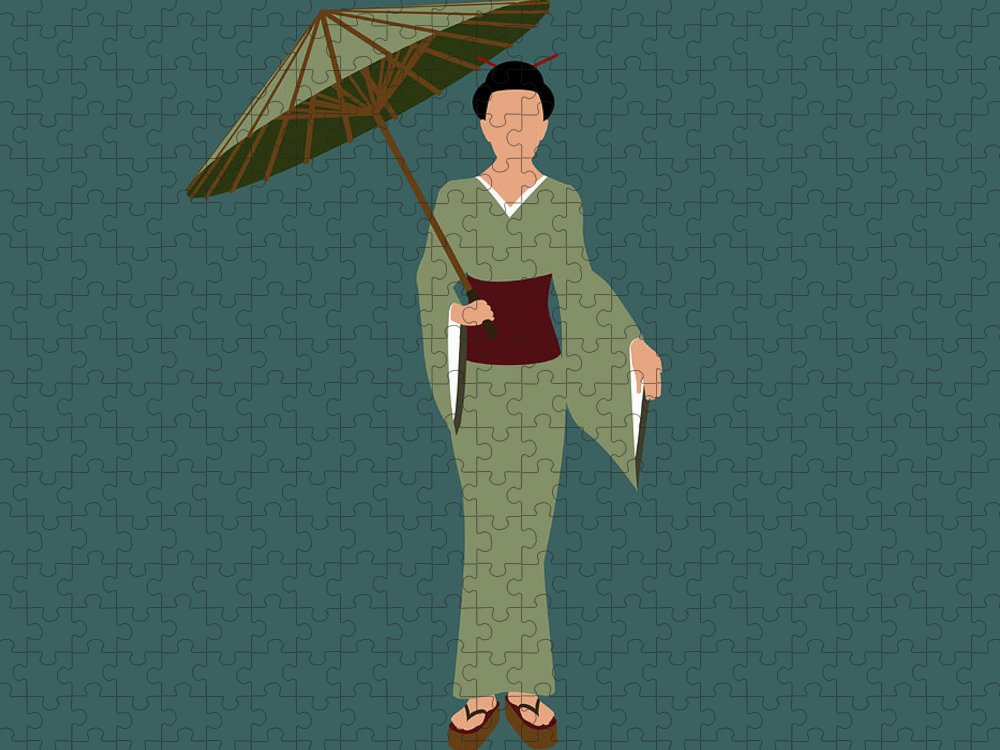 People Puzzle featuring the digital art Stereotypical Japanese Woman by Ralf Hiemisch