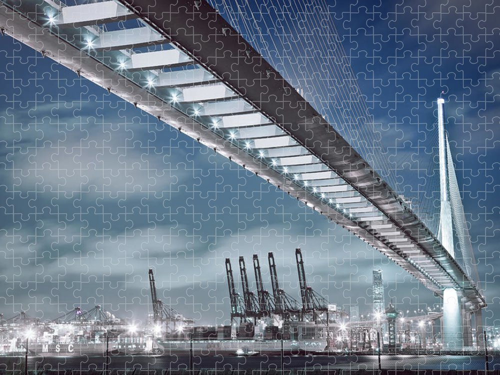 Built Structure Puzzle featuring the photograph Stonecutters And Container Terminal by Andi Andreas