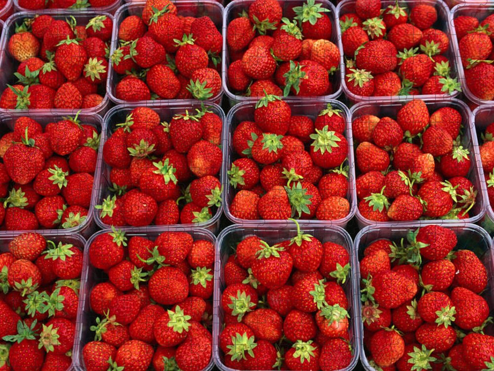 Fruit Carton Puzzle featuring the photograph Strawberries For Sale, Bergen, Norway by Anders Blomqvist