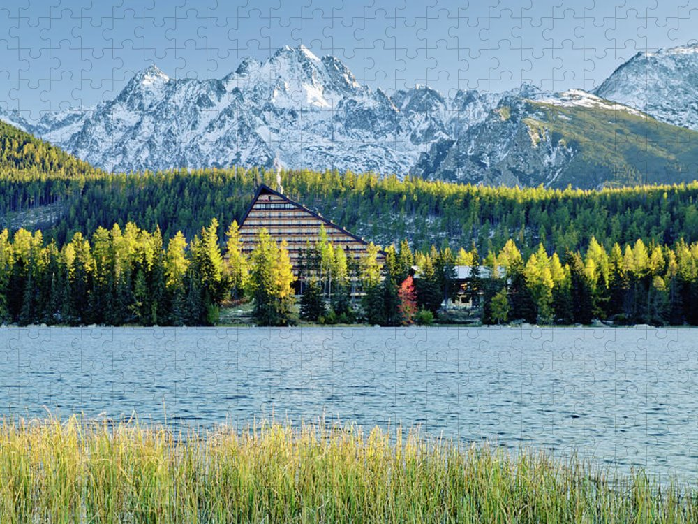 Scenics Puzzle featuring the photograph Strbske Pleso - Mountain Lake In Morning by Yorkfoto