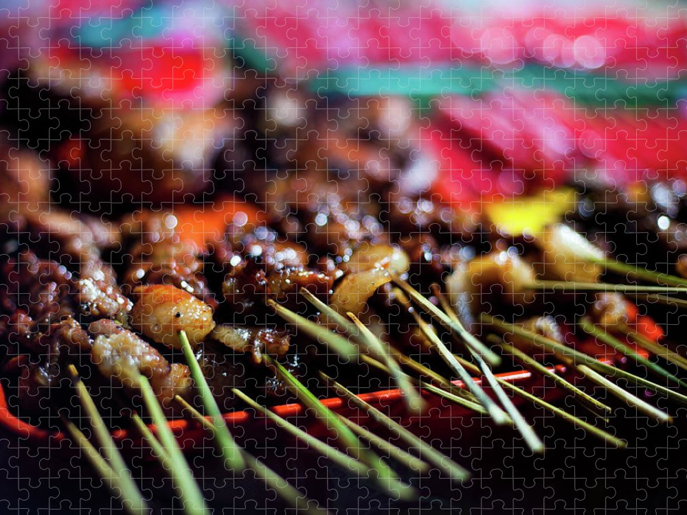 Outdoors Puzzle featuring the photograph Street Food In Philippines - Skewers by Fototrav