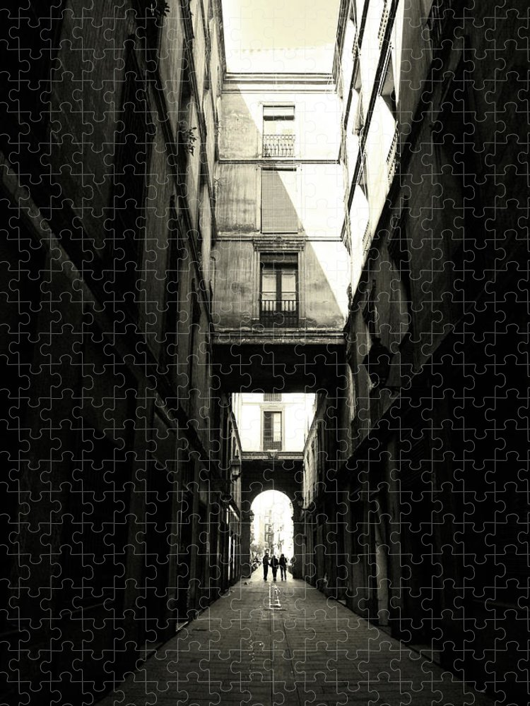 Arch Puzzle featuring the photograph Street In Barcelona by Maria Fernandez