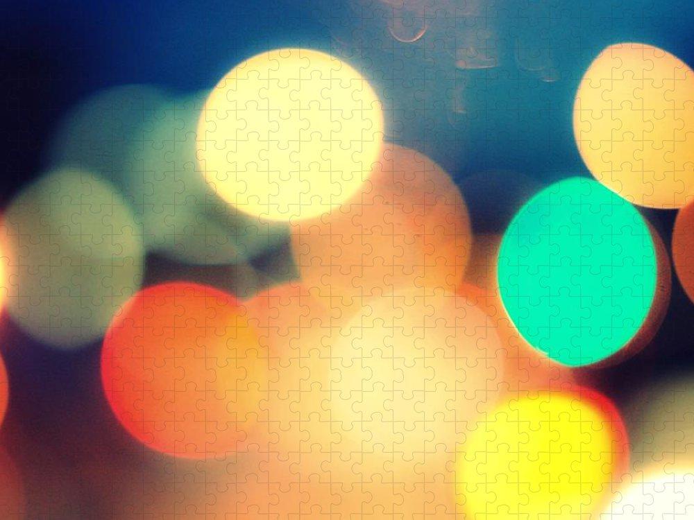 Car Interior Puzzle featuring the photograph Streetlight Candy by Espen Løken