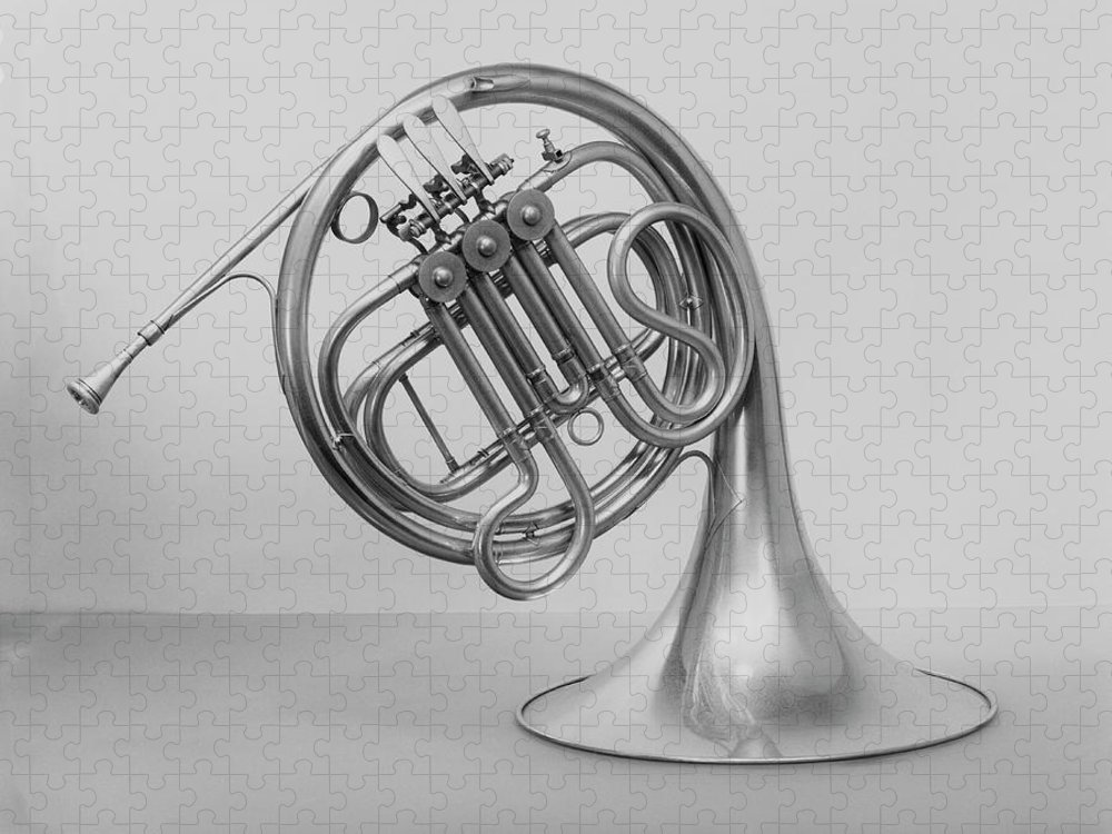 White Background Puzzle featuring the photograph Studio Shot Of French Horn by George Marks