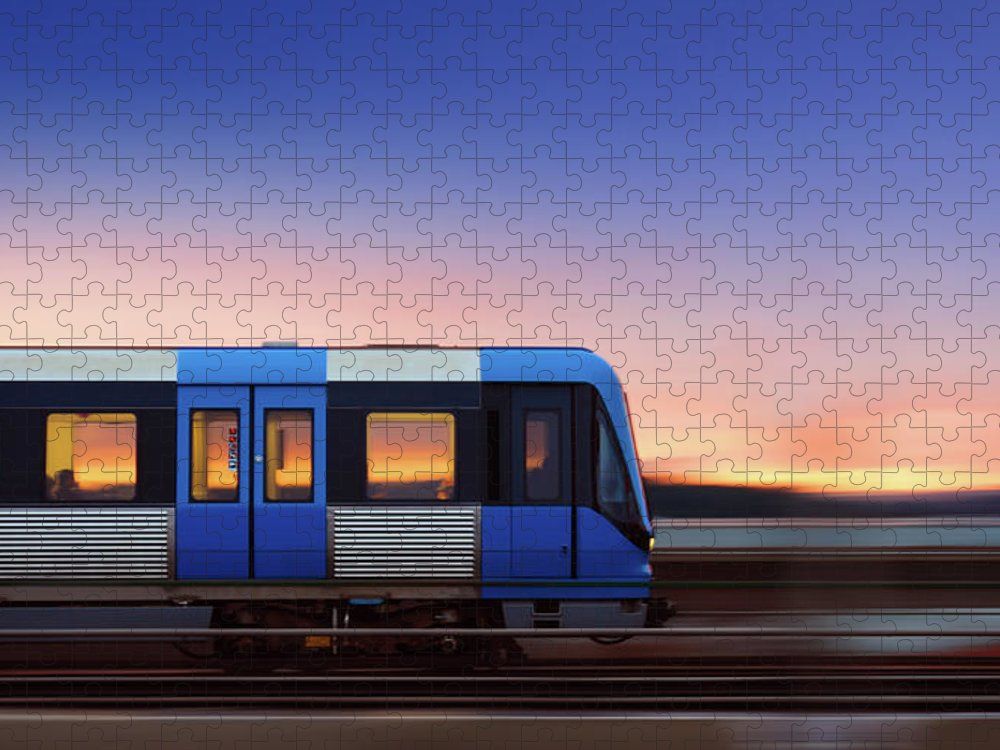 Train Puzzle featuring the photograph Subway Train In Profile Crossing Bridge by Olaser
