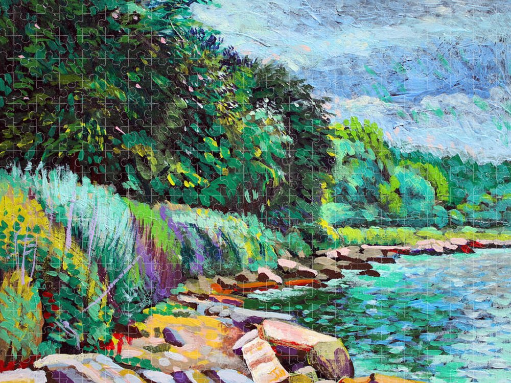 Tranquility Puzzle featuring the digital art Summer Shore Of Hudson River, New York by Charles Harker