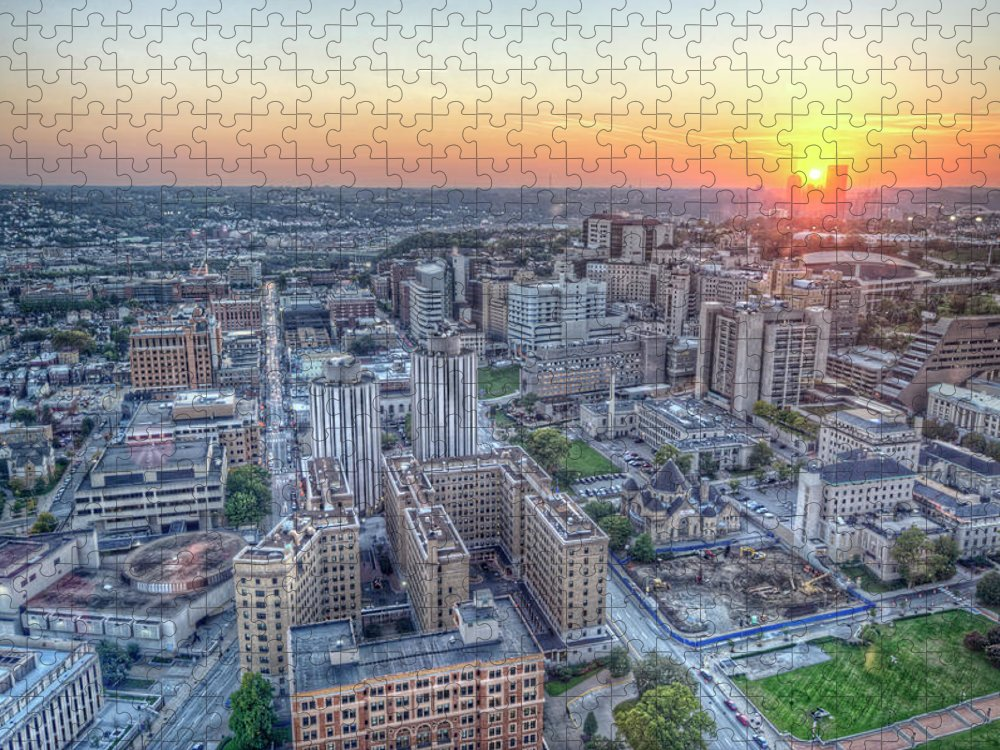 Outdoors Puzzle featuring the photograph Sun Setting Over City Of Pittsburgh by Hdrexposed - Dave Dicello Photography