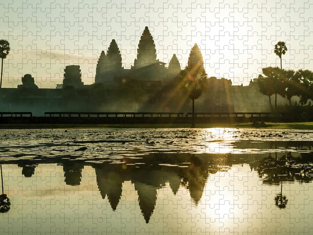 Tranquility Puzzle featuring the photograph Sunrise At Angkor Wat by Matt Davies Noseyfly@yahoo.com