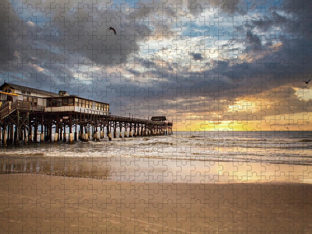 Tranquility Puzzle featuring the photograph Sunrise At Cocoa Beach Pier by Will Tan