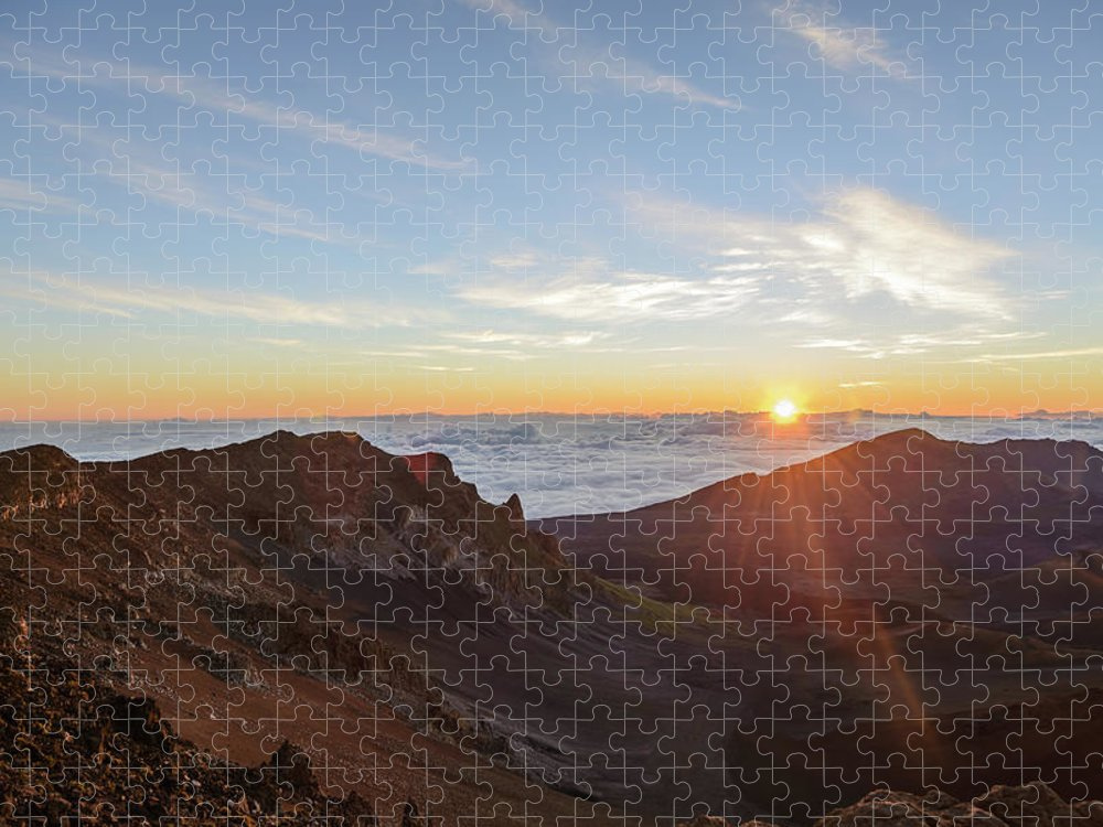 Scenics Puzzle featuring the photograph Sunrise At Haleakala by Photo By Robert Vaughn