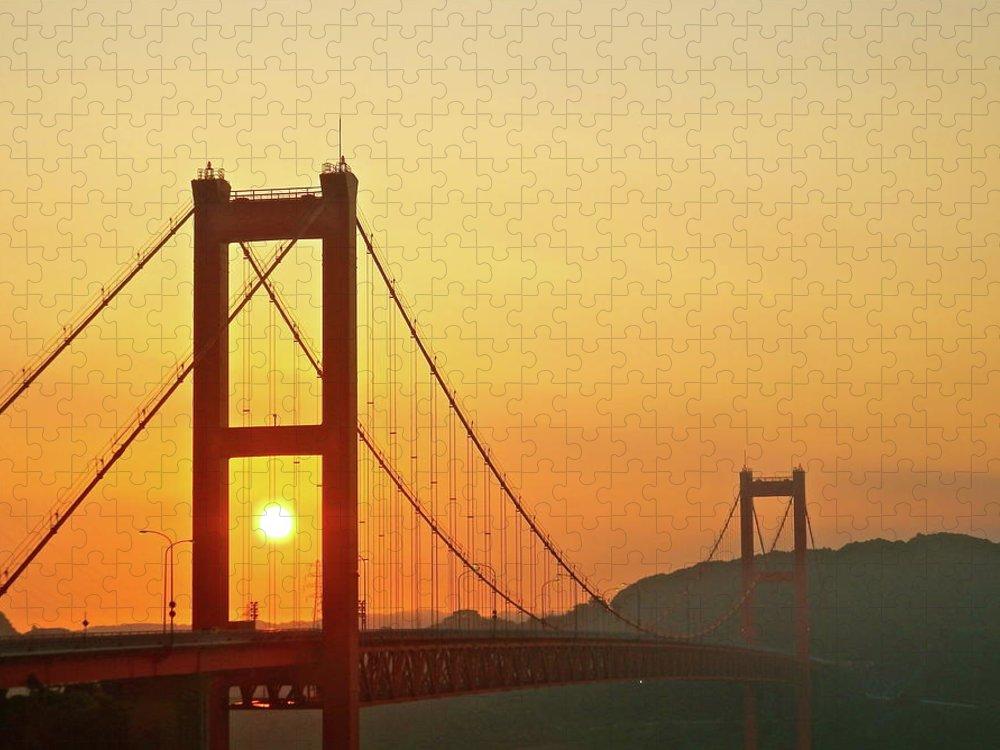 Suspension Bridge Puzzle featuring the photograph Sunrise On Hirado Bridge by Kurosaki San