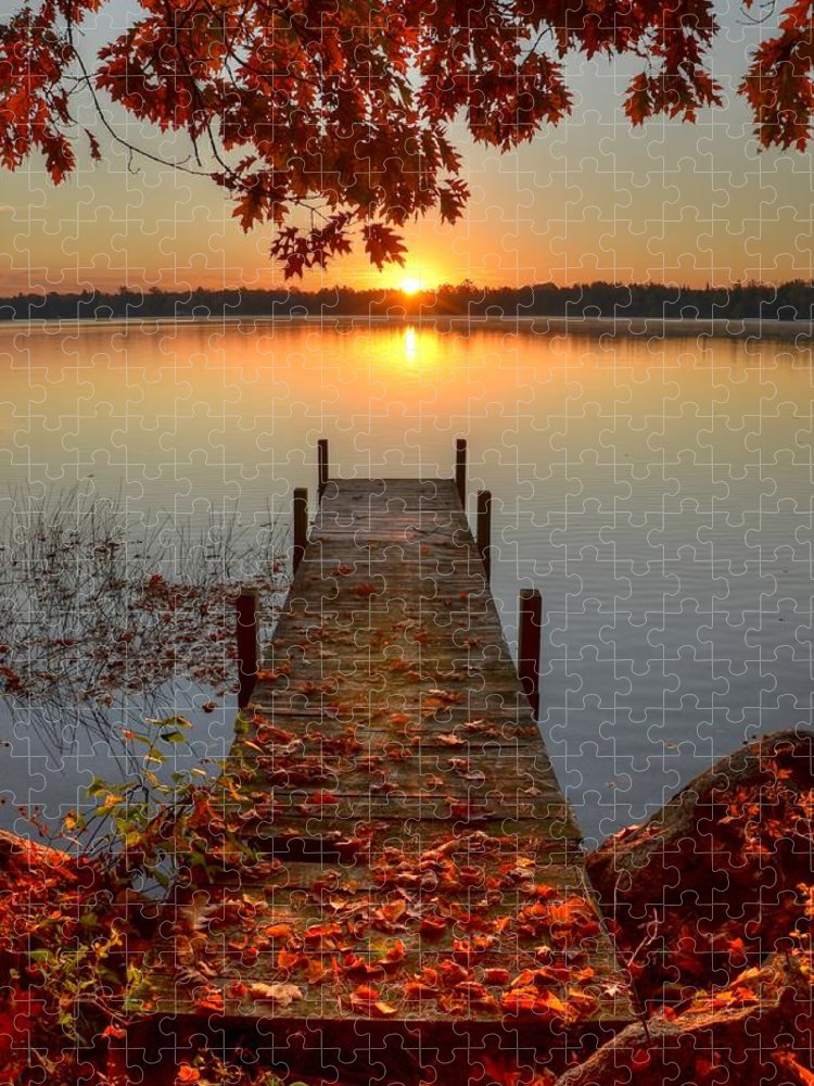 Scenics Puzzle featuring the photograph Sunrise On Pelican Lake by Sherry Slabik