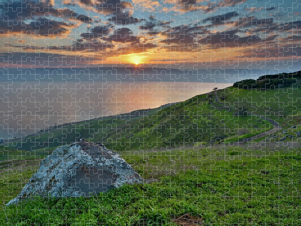 Tranquility Puzzle featuring the photograph Sunrise On Sea Of Galilee by Ilan Shacham