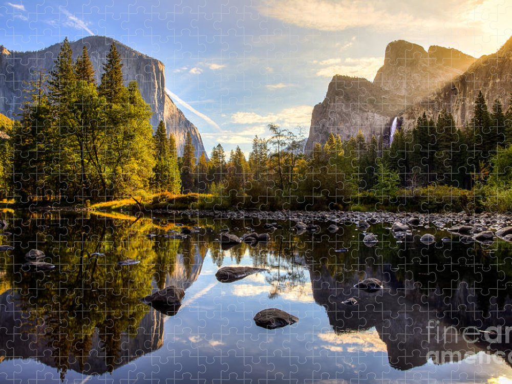Capitan Puzzle featuring the photograph Sunrise On Yosemite Valley Yosemite by Stephen Moehle