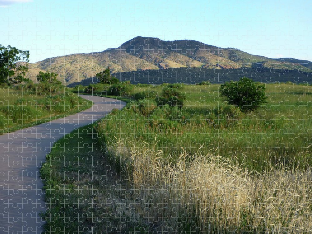 Outdoors Puzzle featuring the photograph Sunrise Over State Park Grasslands And by Milehightraveler