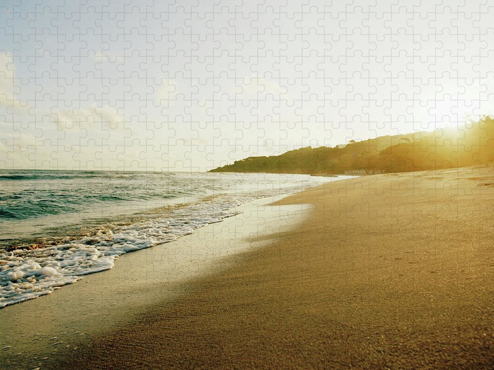 Tranquility Puzzle featuring the photograph Sunset At A Beach Of Petit-goave, Haiti by Cultura Exclusive/philip Lee Harvey